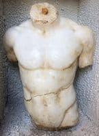 Male Torso nude body stone statue, fragment antique style